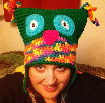 Adult Funky Owl Hat in Green and Rainbow Brite